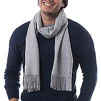 Men's 100% alpaca scarf, 'Silver Gray' - Hand Crafted Alpaca Wool Scarf