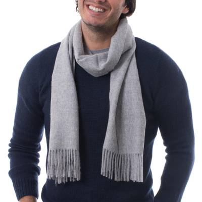 Men's 100% baby alpaca scarf, 'Silver Gray' - Peruvian Solid Silver Grey Tone 100% Alpaca Scarf for Men