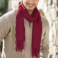 Men's 100% alpaca scarf, 'Cherry Red' - Men's Handcrafted Alpaca Scarf