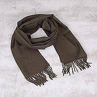 Men's 100% alpaca scarf, 'Forest Green' - Alpaca Wool Solid Green Scarf