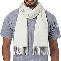 Men's 100% alpaca scarf, 'Frothy White' - Unique Alpaca Wool Solid Scarf