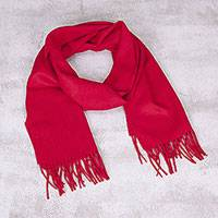 Men's 100% alpaca scarf, 'Impassioned Red' - Men's Alpaca Wool Scarf