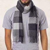 Men's 100% alpaca scarf, 'Gray Squared' - Hand Crafted Men's Alpaca Wool Patterned Scarf