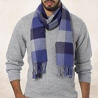 Men's 100% alpaca scarf, 'Blue, Squared' - Alpaca Wool Blue Black and Gray Patterned Alpaca Scarf