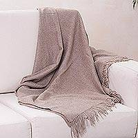 100% alpaca throw, 'Cozy Light Brown' - 100% Alpaca Wool Handcrafted Luxury Throw