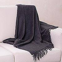 100% alpaca throw, 'Cozy Dark Gray' - Gray Alpaca Wool Peruvian Throw