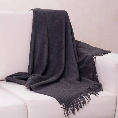 100% alpaca throw, 'Cozy Dark Gray' - 100% Alpaca Wool Solid Throw