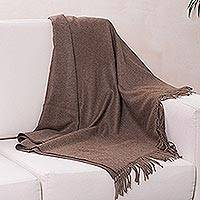 100% alpaca throw, 'Cozy Brown' - 100% alpaca throw