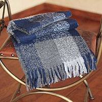 100% alpaca throw, 'Blue Gray Geometry' - Collectible Geometric Alpaca Wool Patterned Throw