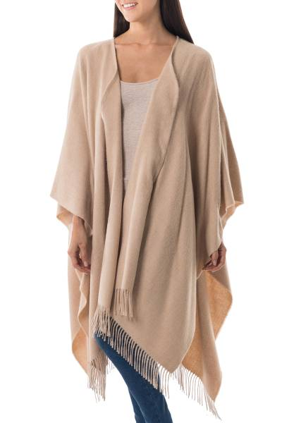 Alpaca Wool Solid Wrap Ruana