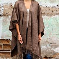 100% alpaca ruana, 'Lush Dark Brown' - Alpaca Wool Solid Wrap Ruana from Peru