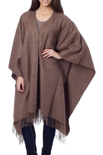 Alpaca Wool Solid Wrap Ruana from Peru
