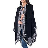 100% alpaca hooded ruana, 'Inca Black' - Handcrafted Alpaca Wool Patterned Shawl