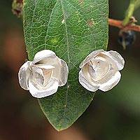 Sterling silver button earrings, 'Highland Camellia' - Floral Sterling Silver Button Earrings