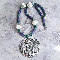 Chrysocolla and sodalite pendant necklace, 'Lord of Sipan' - Chrysocolla and sodalite pendant necklace