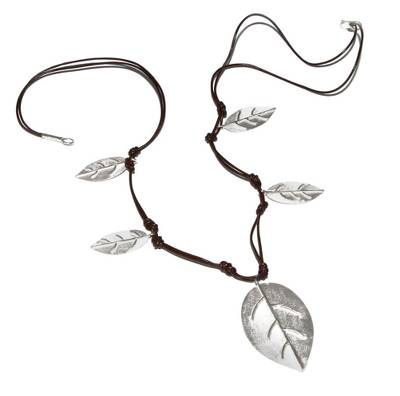 Sterling silver and leather waterfall necklace