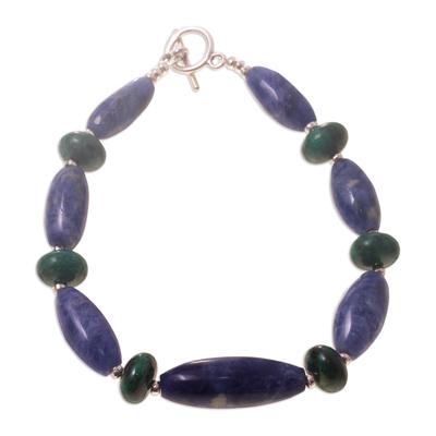 Sodalite and chrysocolla beaded bracelet