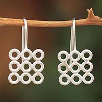 Sterling silver drop earrings, 'Circles on the Square' - Sterling silver drop earrings