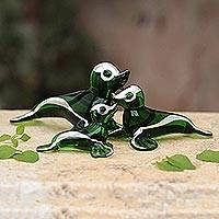 Blown glass silver leaf figurines, 'Playful Green Seals' (set of 3) - Handblown Glass Sculptures (Set of 3)