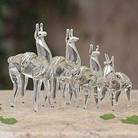Blown glass with silver leaf figurines, 'Moche Llamas' (set of 4) - Set of 4 Hand Blown Glass And Silver Leaf Llama Figurines