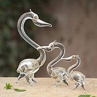 Blown glass silver leaf figurines, 'Friendly Pelicans' (set of 3) - Blown glass silver leaf figurines (Set of 3)