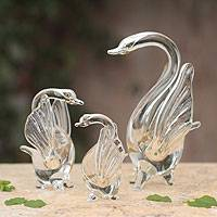 Blown glass silver leaf figurines, 'Silver Swans of Love' (set of 3) - Blown glass silver leaf figurines (Set of 3)