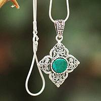 Chrysocolla flower necklace,
