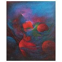 'Creation of New Planets' - Original Abstract Oil Painting Signed Peru