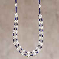 Lapis lazuli beaded necklace, 'Andean Legend' - Unique Sterling Silver Beaded Lapis Lazuli Necklace