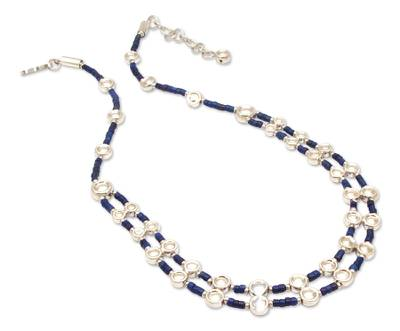 Unique Sterling Silver Beaded Lapis Lazuli Necklace