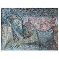 'Sleeping Woman' - Original Female Form Signed Impressionist Painting Peru