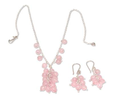 Rose Quartz Earrings and Necklace Jewelry Set