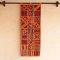 Wool tapestry, 'Calendar of the Inca' - Geometric Wool Tapestry from Peru