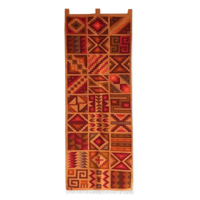 Geometric Wool Tapestry from Peru