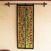 Wool tapestry, 'Tree of Life' - Tapestry Handcrafted Birds Wall Hanging