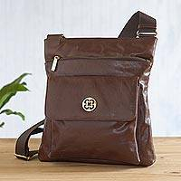 Leather messenger bag, 'Arequipa Traveler' - Brown Leather Shoulder Bag from Peru