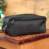 Men's travel case, 'Andean Black' - Handcrafted Men's Toiletries Travel Bag