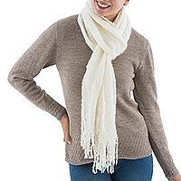 Alpaca blend scarf, 'Ivory Temptation' - Handcrafted Peruvian Alpaca Wool Women's Scarf