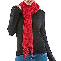 Alpaca blend scarf,  'Ruby Temptation' (Peru)