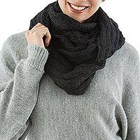 Alpaca blend infinity snood scarf, 'Endless Black' - Black Alpaca Blend Infinity Snood Scarf Knitted in Peru