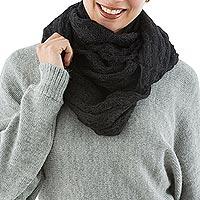 Alpaca blend infinity snood scarf, 'Endless Black' - Alpaca blend snood scarf