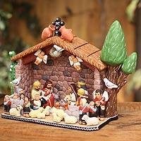 Ceramic nativity scene, 'Little House in Bethlehem' - Hand Crafted Ceramic Nativity Scene Sculpture