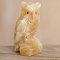 Gemstone sculpture, 'Mystic Brown Owl' - Calcite Gemstone Owl Handmade in Peru