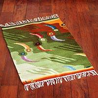 Wool rug, 'Amazon Toucans' (3x2) - Handcrafted Peruvian Animal Themed Wool Bird Area Rug (3x2)