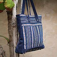 Wool blend and suede accent tote bag, 'Andean Blue' - Wool Striped Tote Handbag from Peru