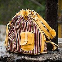 Wool blend and leather accent tote bag, 'Andean Warmth' - Handmade Wool and Leather Accent Bucket Bag