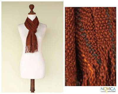 Pima cotton scarf, 'Daring Brown' - Fair Trade Women's Pima Cotton Patterned Scarf
