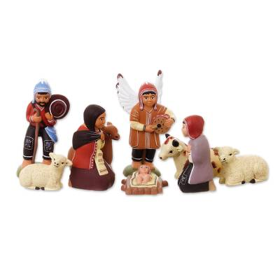 Ceramic nativity scene (9 Pieces)