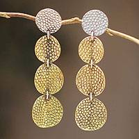 Sterling silver and bronze dangle earrings, 'Radiant Elegance' - Peruvian Bronze and Silver Dangle Earrings