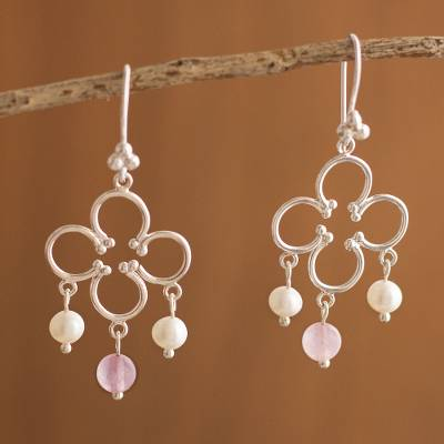 Cultured pearl and rose quartz chandelier earrings, 'Fortunate' - Cultured pearl and rose quartz chandelier earrings